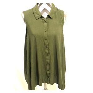 ModCloth Waterfall Button Down Sleeveless Top 1X